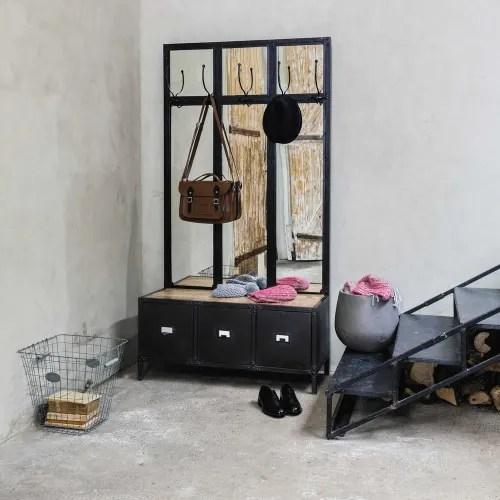 garderobenmobel aus metall mit spiegel schwarz maisons du monde