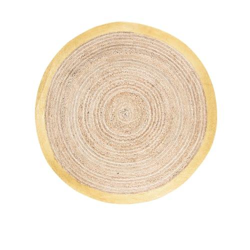 geflochtener runder baumwolle und jute teppich mit goldfarbener umrandung d180 maisons du monde
