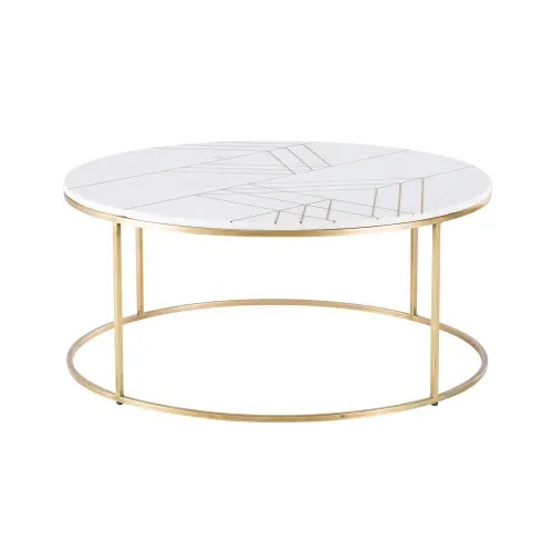 gold iron and white marble round coffee table maisons du monde