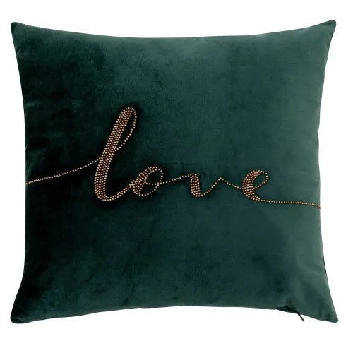 Green Cushion Cover with Gold Beads