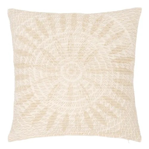 housse de coussin en coton blanc imprime beige 40x40 maisons du monde