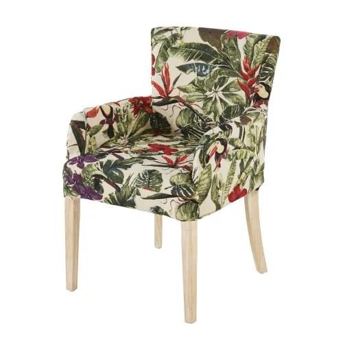 housse de fauteuil imprime vegetal multicolore maisons du monde