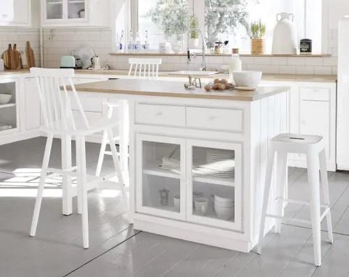 ilot central cuisine 6 tiroirs 2 portes blanc maisons du monde