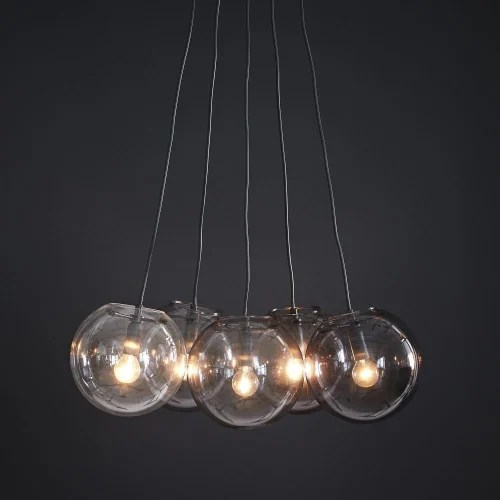 lampadario sfere in vetro trasparente stile moderno; Lampada A Sospensione 5 Sfere In Vetro E Vetro Fume Orbe Maisons Du Monde