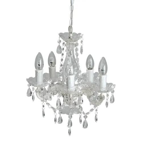 Metallo bianco presi da maison du monde stile shabby chic, in stato ottimo. Lampadario 5 Bracci Con Pendenti Victorine Maisons Du Monde