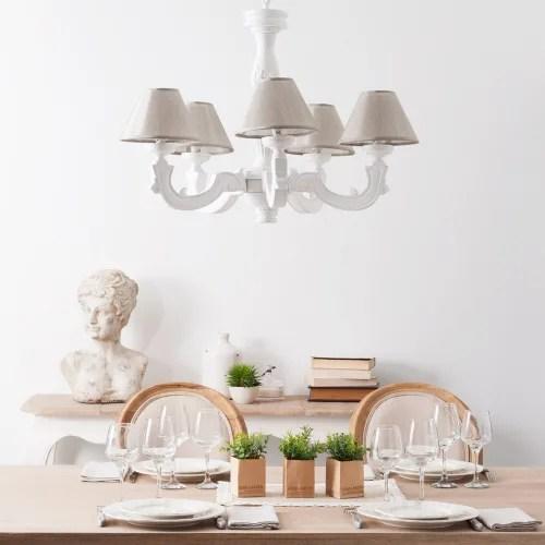 Metallo bianco presi da maison du monde stile shabby chic, in stato ottimo. Lampadario Bianco Effetto Anticato E Paralumi Beige Montmartre Maisons Du Monde
