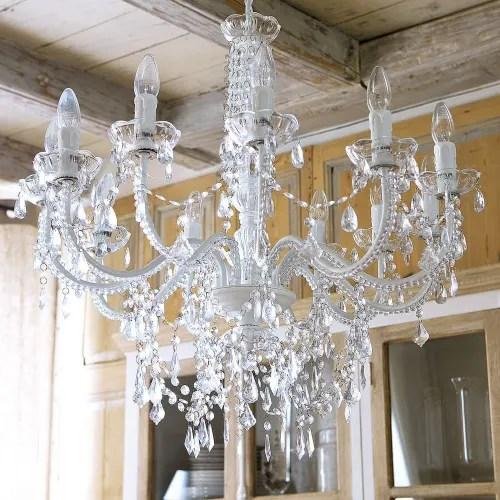 Lampadario bianco effetto anticato e paralumi beige. Lampadario Con Pendenti In Metallo Bianco 75 Cm Pampilles Maisons Du Monde