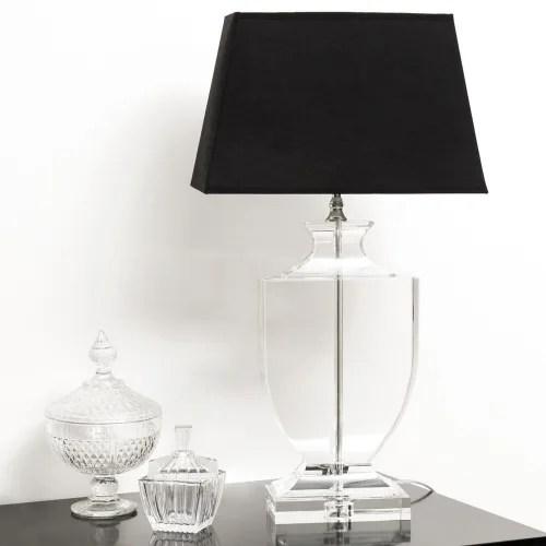 lampe en cristal et abat jour en coton noire h 65 cm maisons du monde