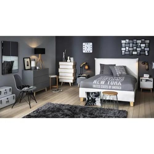 Un lieu d'activités et de. Letto Bianco Con Contenitore E Rete A Doghe 160x200cm Pillow Maisons Du Monde