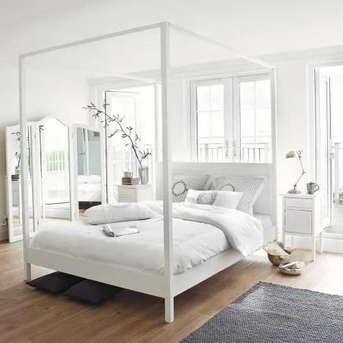 lit a baldaquin 160x200 en pin blanc casse maisons du monde