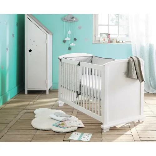 lit bebe a barreaux blanc imprime etoile l131 maisons du monde
