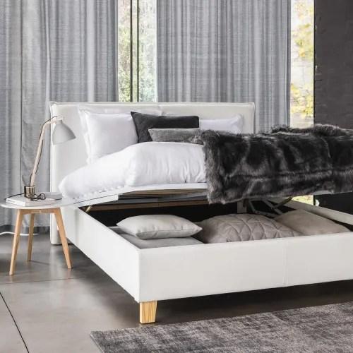 lit coffre avec sommier a lattes 160x200 blanc maisons du monde