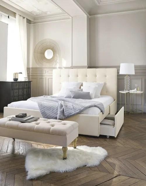 lit double capitonne ivoire avec rangements couchage 160x200 maisons du monde
