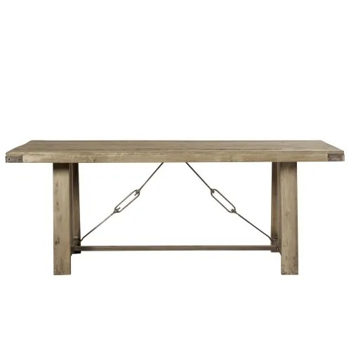 mango wood and metal 8 10 seater industrial dining table w205 maisons du monde