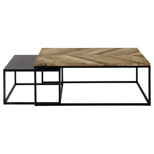 metal and recycled wood nested tables maisons du monde