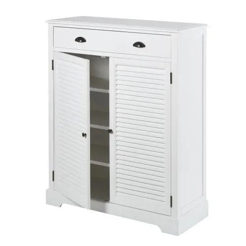 meuble a chaussures 2 portes 1 tiroir blanc maisons du monde