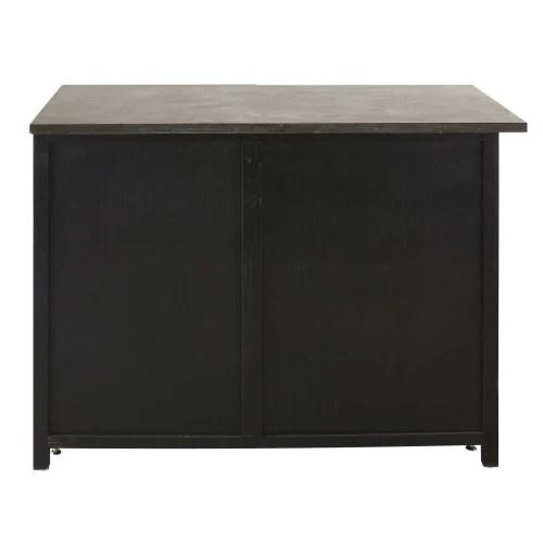 meuble bas d angle droit de cuisine 1 porte 1 tiroir en pin recycle grise maisons du monde
