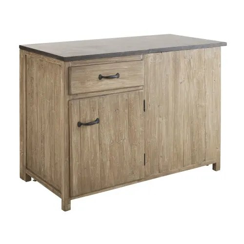 meuble bas d angle gauche de cuisine 1 porte 1 tiroir en pin recycle grise maisons du monde