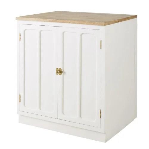meuble bas de cuisine 2 portes en manguier massif blanc maisons du monde