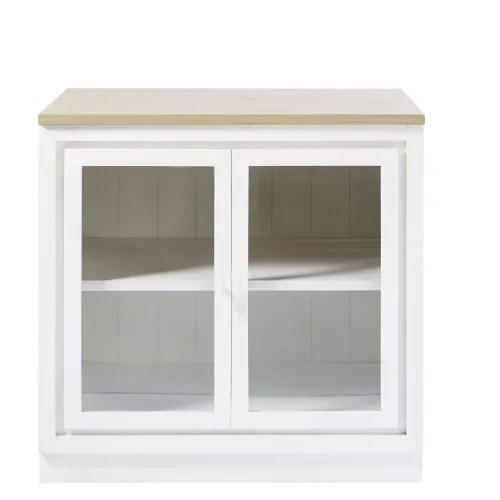 meuble bas de cuisine 2 portes vitre blanc maisons du monde
