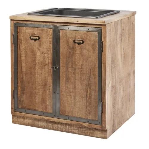 meuble bas de cuisine avec evier 2 portes en manguier massif maisons du monde