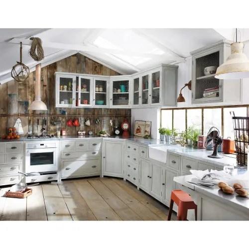 meuble bas de cuisine avec evier en bois d acacia gris l 120 cm maisons du monde
