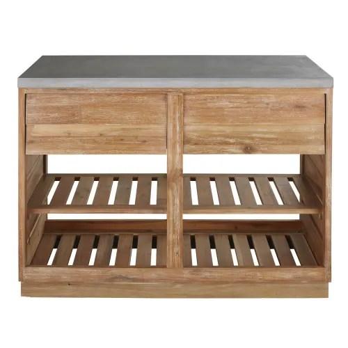 meuble bas de cuisine d exterieur 2 tiroirs en acacia massif et beton l120 maisons du monde