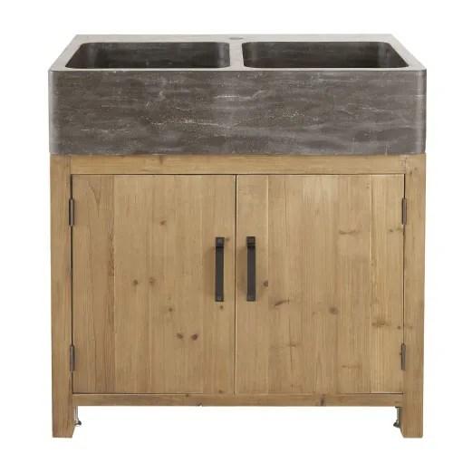 meuble bas de cuisine pour evier 2 portes en pin recycle effet vieilli maisons du monde