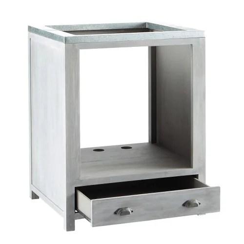 meuble bas de cuisine pour four en bois d acacia gris l 70 cm maisons du monde