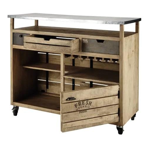 meuble de bar a roulettes en manguier maisons du monde