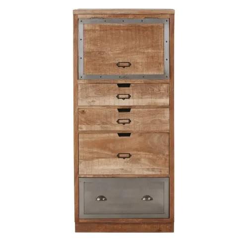 meuble de cuisine colonne fermee 4 tiroirs en manguier massif et metal maisons du monde