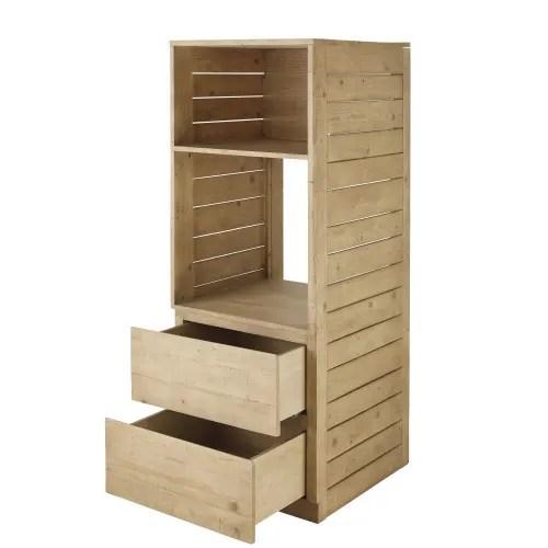 meuble de cuisine colonne four 2 tiroirs en epicea maisons du monde