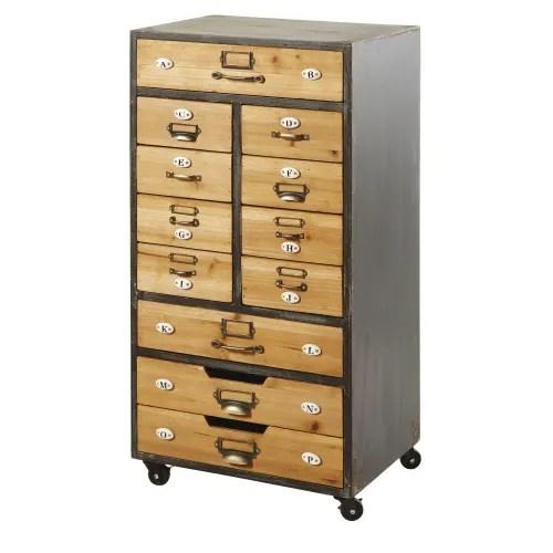 meuble de rangement 12 tiroirs a roulettes maisons du monde