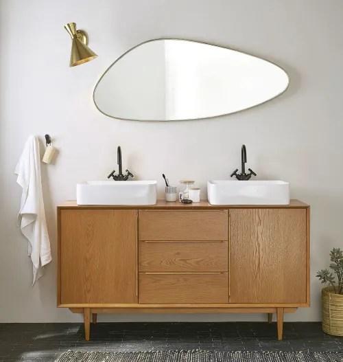meuble double vasque vintage 2 portes 3 tiroirs maisons du monde