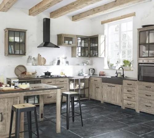 meuble haut d angle de cuisine 1 porte vitree en pin recycle maisons du monde