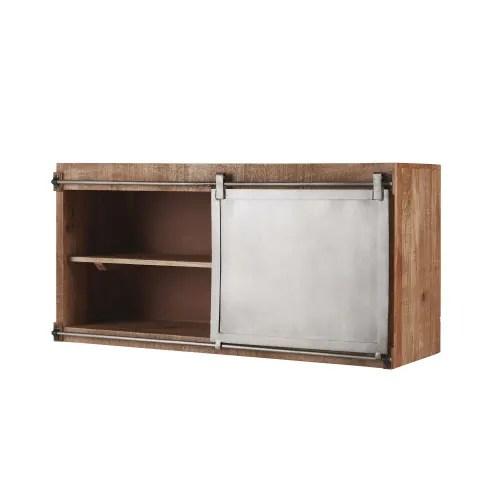 meuble haut de cuisine 1 porte coulissante en manguier massif et metal gris maisons du monde