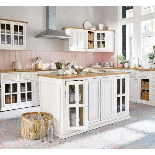 meuble haut vitre de cuisine en manguier ivoire l 70 cm maisons du monde