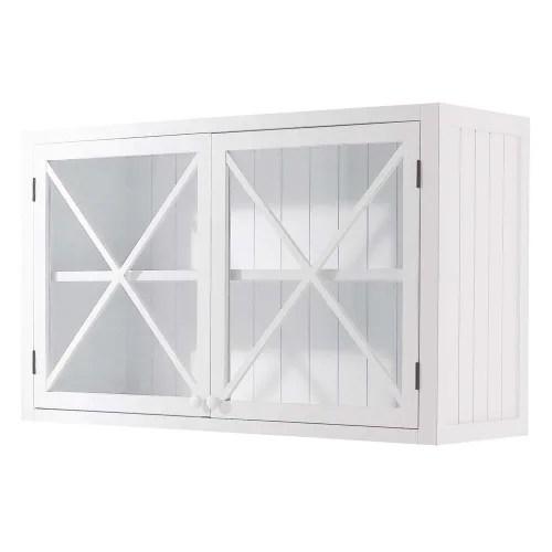 meuble haut vitre de cuisine en pin blanc l120 maisons du monde