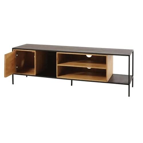 meuble tv 1 porte en metal noir et manguier massif maisons du monde