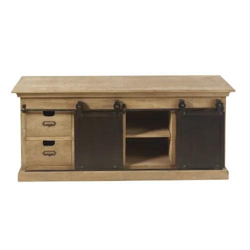 meuble tv 2 portes 4 tiroirs en manguier massif maisons du monde