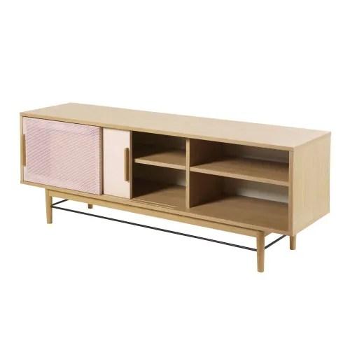 meuble tv 2 portes beige rose maisons du monde
