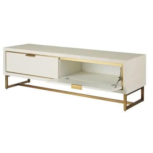 meuble tv 2 portes blanc casse et metal coloris laiton maisons du monde