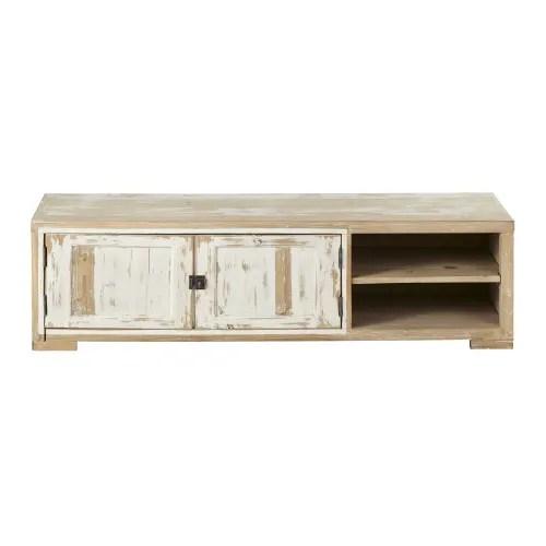 meuble tv 2 portes en pin recycle blanchi maisons du monde