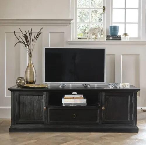 meuble tv 2 portes noir maisons du monde