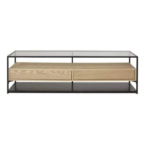 meuble tv 2 tiroirs en metal noir et verre trempe maisons du monde