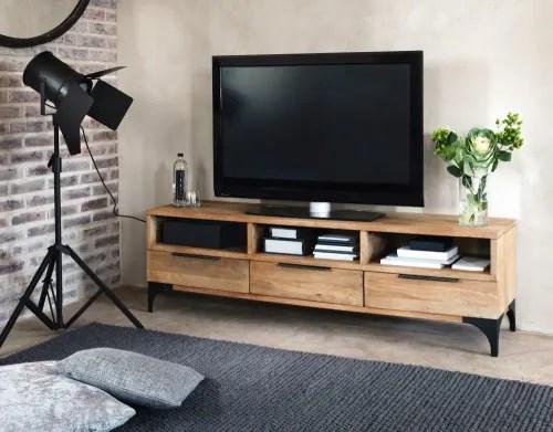 meuble tv 3 portes en manguier massif et acacia maisons du monde