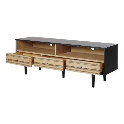 meuble tv 3 tiroirs bicolore a motifs peints maisons du monde