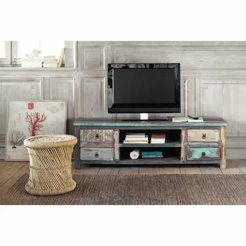 meuble tv en bois recycle effet vieilli l 140 cm maisons du monde