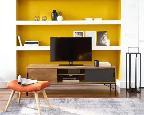 meuble tv en manguier et metal noir maisons du monde