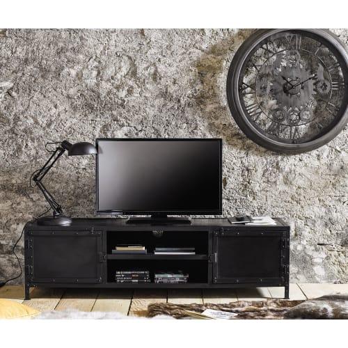 meuble tv indus en metal noir maisons du monde